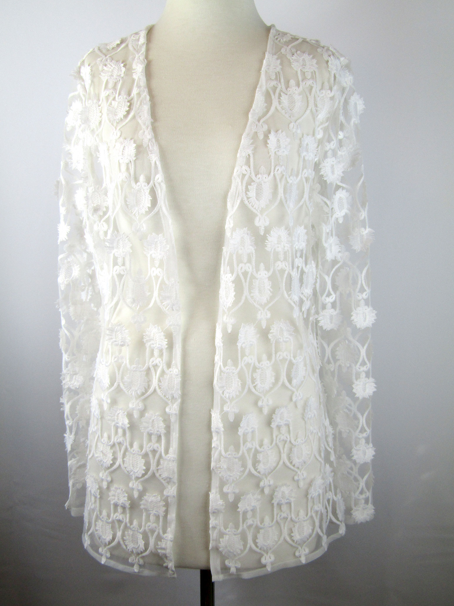 74247d7a7ff99 Sheer white embroidered jacket